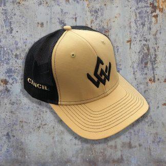 tan and black hat