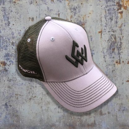 grey and black hat